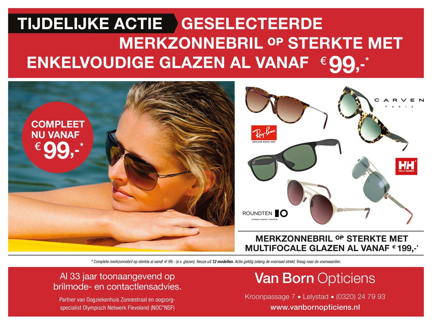 zonnebrillen actie van Born Opticiens